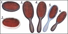 Personal fav! Mason Pearson Hairbrushes. BOAR BRISTLE & NYLON: this type of hairbrush is for medium to thick hair. I have 1 of these 2 (I can't remember for sure): 3. Large size 'Popular' BN1   8 rings of bristle & nylon tufts 4. Medium size 'Junior' BN2. 7 rings of bristle & nylon tufts.