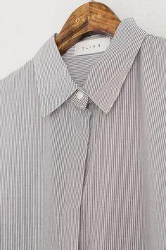 Double Stripe Long Shirt Dress, Black