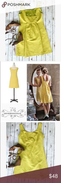 💗Beautiful Anthropologie yellow retro dress💗 💝 Beautiful Anthropologie yellow retro dress in size 8, please see pics with measurements, gorgeous back style great for summer 💝 Anthropologie Dresses Mini