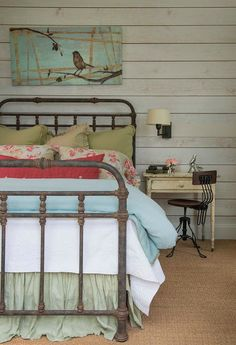Farmhouse Interiors. Inviting guest bedroom with antiques from Round Top, TX.