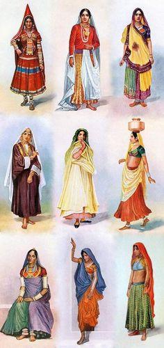 1928年、インド人画家M. V. Dhurandharによる水彩画。 ラジャスタン州などインド北部でみられるガガラ(Ghagra)やレンガ(Lehenga)と呼ばれるスカートに短いブラウス、チョリ(Choli)の構成。 pic.twitter.com/tjChYojJdU