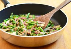 Asparagus Mushroom Saute with tender-crisp asparagus, cremini mushrooms, and red onions stir-fried in garlic and herbs. Ready in minutes, it's the perfect weeknight side dish yet fancy enough for company. Asparagus Stir Fry, Asparagus And Mushrooms, How To Cook Asparagus, Sauteed Mushrooms, Asparagus Recipe, Side Dish Recipes, Vegetable Recipes, Side Dishes, Vegetarian Recipes