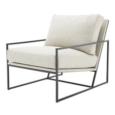 Eichholtz Rowen Chair Loki Natural Fabric Black Stainless Steel Frame - Lounge