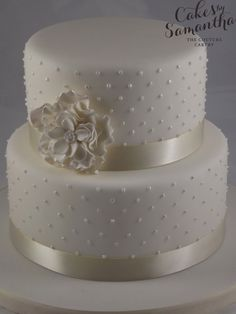 ruffle wedding cake | … – Small, 2 tier wedding cake with pearl piping and ruffle flower