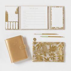 Planer aus Baumwolle mit goldfarbenem Blätterdruck | Maisons du Monde