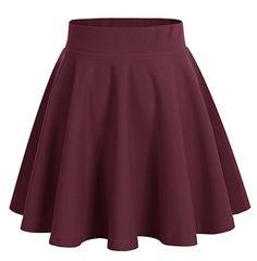 Dresstells Damen Basic Solide vielseitige Dehnbar Informell Mini Glocken  Rock Burgundy M