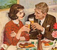 This married couple are having a pleasant evening and a toast is in order. Maybe they are celebrating an anniversary. In any case, they have their work cut out for them if they get those slabs of meat down. This painting appeared in a beer ad in October 1959.