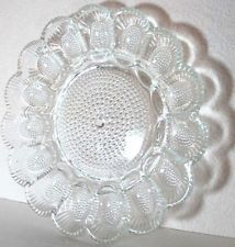 Indiana Glass clear carnival glass deviled egg serving plate platter