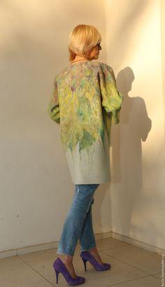 """Купить Пальто весенне-летнее """"Моне"""" - комбинированный, абстрактный, пальто летнее, ручная работа handmade"""