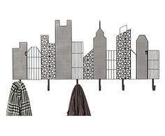 Appendiabiti da parete in acciaio con 6 ganci Skyline, 44x101x3 cm
