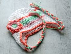 Crochet Baby Hat Ear Flap Hat Baby Girl Earflap Hat by Karenisa