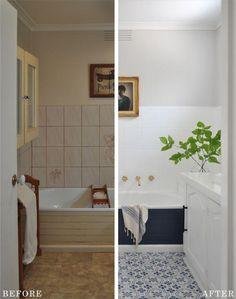 Bathroom redo with paint. Painted floor stencil,bath tub side and cool sink Bathroom redo with paint. Painted floor stencil,bath tub side and cool sink - Decking of a house just . Bathroom Renos, Bathroom Interior, Modern Bathroom, Small Bathroom, Rental Bathroom, Bathroom Renovations, Bathroom Ideas, Bathroom Makeovers, Parisian Bathroom