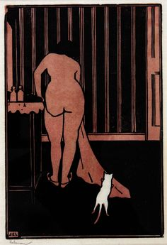 La Petite Chat Blanche - Jean-Emile Laboureur ,1907 French 1877-1943 Woodcut in black and sanguine printed on thin antique laid Japan , 18 x 13 cm