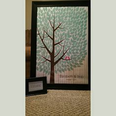 Whitewashed Wooden Wedding Tree | Guest Book Alternative | Rustic Wedding | Customer Photo | Wedding Color - Teal & Pink | peachwik.com