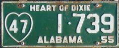 """September 4, 1951: Alabama lawmakers pass legislation requiring a new look for the state's license plates. Beginning in October 1954, tags were to carry an image of a heart and the phrase, """"Heart of Dixie,"""" a slogan that had been used for several years by the Alabama State Chamber of Commerce to promote the state.  The first plates were seen in 1955."""