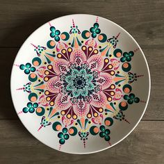 Decorative Mandala Plate, Hand Painted Plate, Dot Mandala, serving Plater, Celibration Plate, Dot Art, Painted Glass, pink and blue