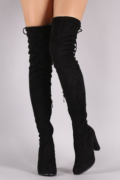 350bace14c2 Suede Drawstring Heeled Over-The-Knee Boots