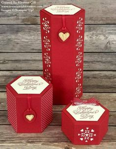 Double height and custom height boxes using the Stampin Up! Origami, Hexagon Box, Envelope Punch Board, Up Book, Craft Box, 3d Craft, Pretty Packaging, Explosion Box, Homemade Cards