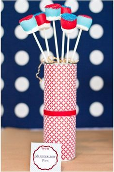 Patriotic Marshmallow Pops by Hostess With The Mostess!