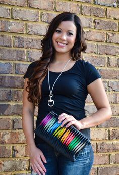 Black or Red Multicolored Clutch