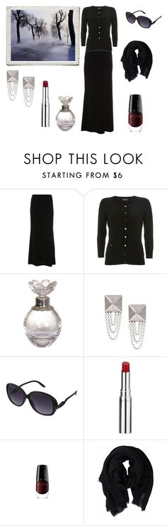 """""""Black winter day"""" by rougenoir666 ❤ liked on Polyvore featuring DANNIJO, Forever 21, Chantecaille, earrings, winter, velvet maxi skirt, black cardigan, perfume, artdeco nailpolish and lipstick"""