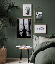 botanical interior design ideas dark green bedroom with white art. The Best in Botanical Interior Design Ideas for your Home. Botanical interior design ideas from oversees - TLC INTERIORS Vintage Interior Design, Bedroom Interior, Interior Design Trends, Bedroom Green, Home Decor, Botanical Interior Design, Bedroom Colors, Interior Design, Bedroom Color Schemes