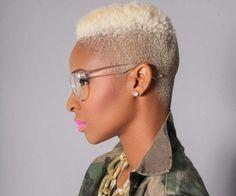 Black woman with blonde high top fade Twa Hairstyles, Short Black Hairstyles, Short Hair Cuts, Short Hair Styles, Shaved Hairstyles, Haircuts, Blonde Afro, Blonde High, Short Blonde