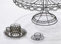 Small and medium teacups, Cathy Miles, iron wire, powder coating, enamel… 3d Drawing Pen, Wire Drawing, 3d Pen, Abstract Sculpture, Bronze Sculpture, Wood Sculpture, Wire Sculptures, Chicken Wire Sculpture, 3doodler