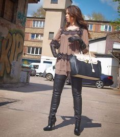 Thigh High Boots, High Heel Boots, Over The Knee Boots, Heeled Boots, High Heels, Fashion Boots, High Fashion, High Leather Boots, Leather Gloves