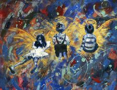 "For Sale: Kid Angels by Sam Nagel | $100 | 18""w x 14""h | Original Art | http://www.vangoart.co/buy/art/kid-angels @VangoArt"