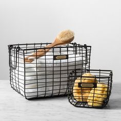 Clean up your space and keep it organized with this Wire Bin from Hearth & Hand™ with Magnolia. This square metal wire bin offers a chic way to store or Wire Basket Storage, Wire Storage, Metal Baskets, Hidden Storage, Wire Basket Decor, Basket Shelves, Magnolia Home Decor, Magnolia Homes, Magnolia Farms