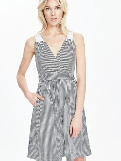Striped Crossover Fit-and-Flare Dress | Banana Republic