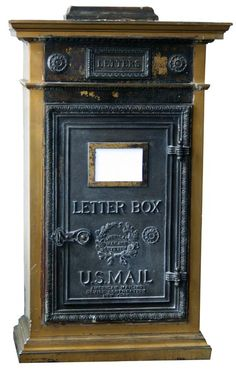 Antique Iron And Bronze Lobby Mailbox From Vernon Manor, Cincinnati, OH (With Mail Chute)
