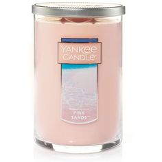 Yankee Candle Pink Sands Tall 22-oz. Candle Jar ($28) ❤ liked on Polyvore featuring home, home decor, candles & candleholders, light pink, yankee candle candles, yankee candle, pink candles, pink scented candles and pink home decor
