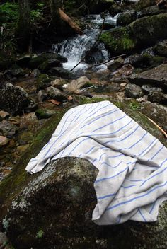 goodlinens blue stripped beach towel is also great for a swim in the river