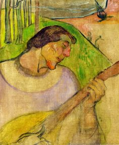 by Paul Gauguin in oil on canvas, done in . Now in a private collection. Find a fine art print of this Paul Gauguin painting. Paul Gauguin, Henri Matisse, Mandoline, Kunst Online, Impressionist Artists, Pablo Picasso, Art Plastique, Vincent Van Gogh, Tahiti