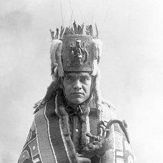 1896 Tshimshian shaman with Oyster Catcher rattle