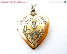 Spring Sale Diamond Heart Locket Necklace by TheJewelryLadysStore, $112.80