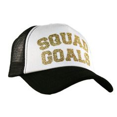 A personal favorite from my Etsy shop https://www.etsy.com/listing/462864277/squad-goals-gold-glitter-trucker-hat