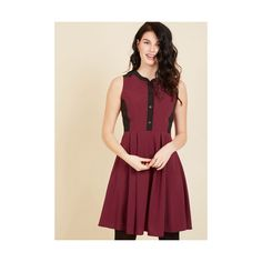 Colorblocking Mid-length Sleeveless A-line Business Over Bianco Shirt... (3,220 PHP) ❤ liked on Polyvore featuring dresses, apparel, fashion dress, red, pleated shirt dress, button-down shirt dresses, red a line dress, sleeveless shirt dress and red sleeveless dress