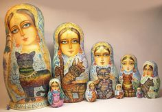 800  Russian Virgins with Cats Nesting Doll | eBay