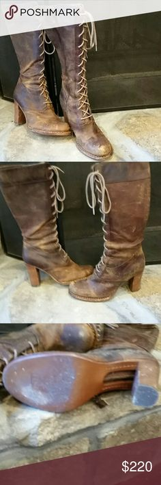 Frye villager zip-up Tuff and sexy!  Distressed leather.  Worn very few times.  EUC. 4 inch heel frye Shoes Heeled Boots