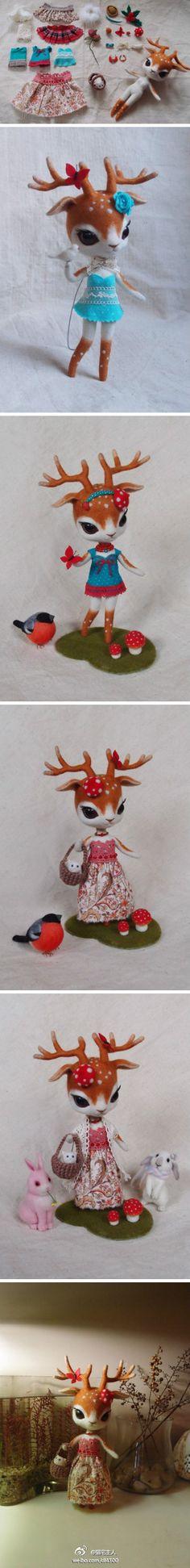 felt deer Ruby...way too trippy and cute too...