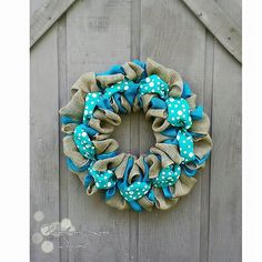 Check out this item in my Etsy shop https://www.etsy.com/listing/239286764/summer-teal-polka-dots-burlap-wreath