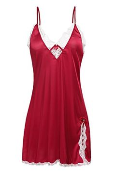 Ekouaer Womens Satin Slip Chemise Silk NightgownRedMedium *** Visit the image link more details. Note:It is Affiliate Link to Amazon.