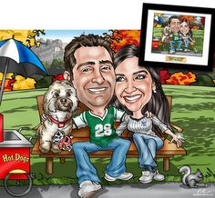 Anniversary caricature drawn from a photo to capture memories, interests, and even quirks in a fun and sentimental way
