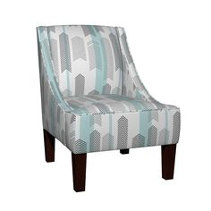 Venda Sloped Arm Chair featuring chevron stripe in mint by cristinapires | Roostery Home Decor