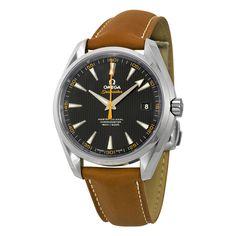Omega Aqua Terra Master Automatic Black Dial Brown Leather Men's Watch 23112422101002 - Seamaster Aqua Terra - Omega - Shop Watches by Brand - Jomashop
