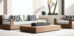 RH Modern's Marbella Teak Collection- Natural Teak (Outdoor Furniture CG)