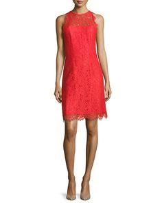 T9K4M Shoshanna Bella Sleeveless Lace Sheath Dress
